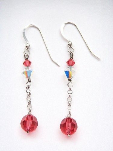 Sterling Silver Earrings with Swarovski Cristal. Starting at $5 on Tophatter.com!