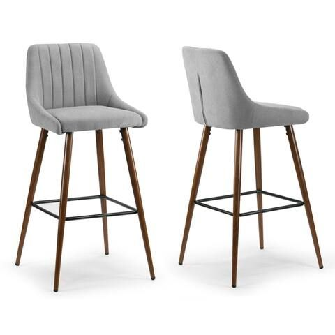 Amos Grey Fabric Bar Stool With Metal Frame And Legs Set Of 2 Comfortable Bar Stools Bar Stools Fabric Bar Stool Grey fabric bar stools