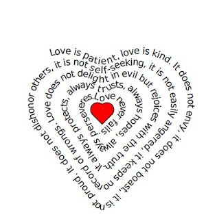 This fun siteallows you to type in your own words (poem, story, etc) and then it turns it into a heart shaped page!