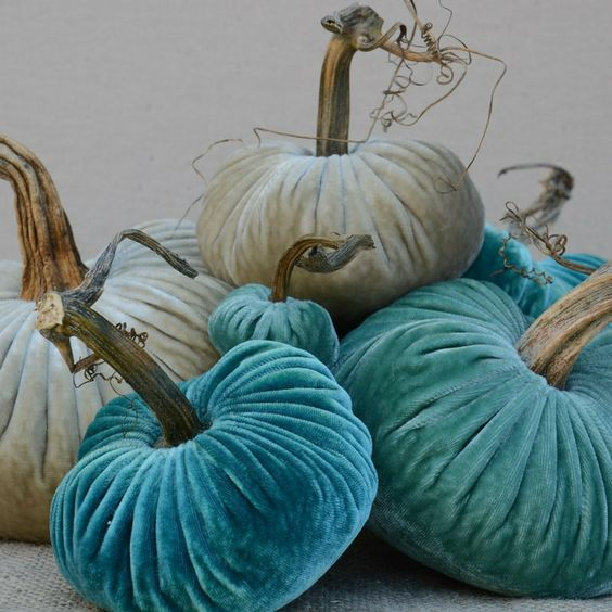 Aqua teal & turquoise Velvet pumpkins are more my style for Fall Décor...