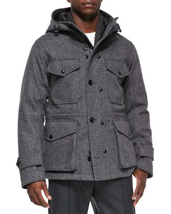 Willie Herringbone Hooded Jacket, Gray by Moncler at Bergdorf Goodman. www.moncler.at.nr    WOW! love love love. I think you will like it .credit card accept. Share with you…ahah MONCLER JACKETS  $169