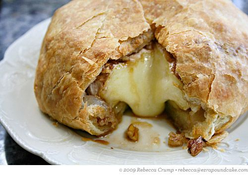 Brie en Croute with Brown Sugar, Bourbon and Pecans. Soft Brie cheese swaddled in a sheet of puff pastry and baked until the pastry is golden brown and the cheese inside is like molten cheese lava (arguably the best type of lava, with the possible exception of chocolate).
