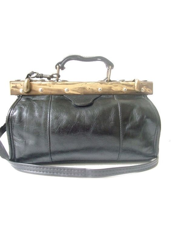 70S  DOCTOR BAG black leather small by lesclodettes on Etsy, $42.00