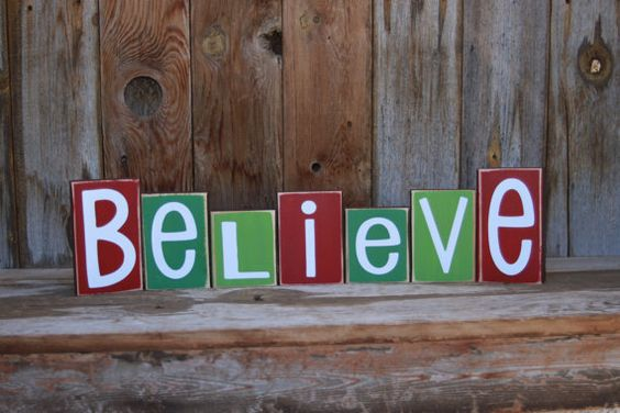 BELIEVE Chistmas Wood Blocks home decor holiday vinyl by invinyl