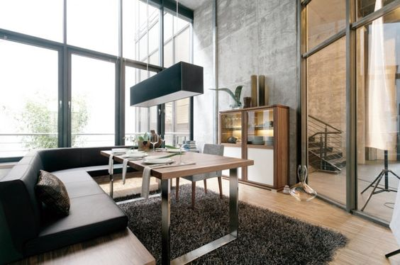 Furniture, Contemporary Dining Table On The Fur Rug And Wooden Floor With Black Corner Sofa: Fascinating and Contemporary Wooden Dining Tabl...