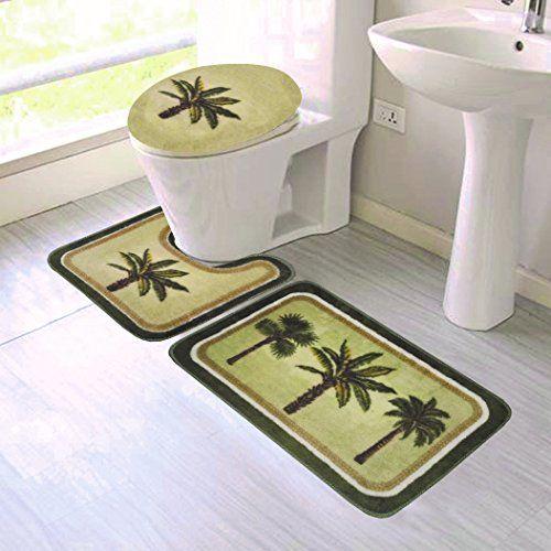 Gorgeoushomelinen New 3pc Palm Tree Bathroom Set Bath Mat Contour And Toilet Lid Cover With Rubber Backing Bathroom Sets Contour Mat Bath Mat