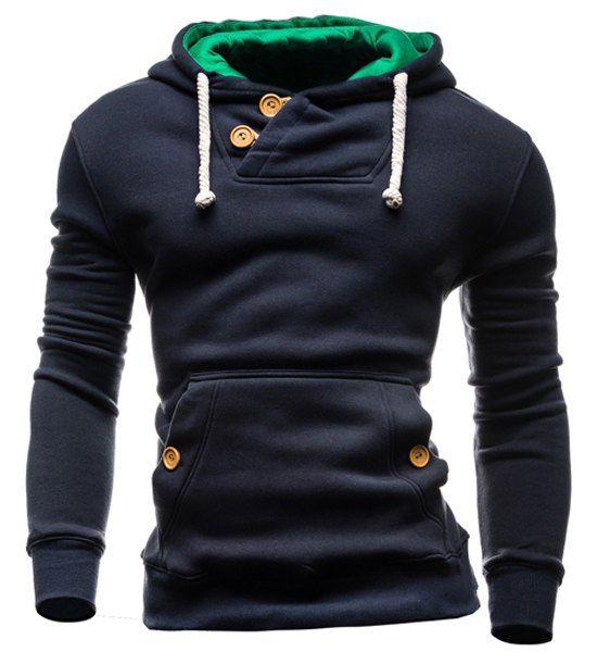 Slimming Hooded Single-Breasted Front Pocket Applique Design Long Sleeves Hoodie For Men