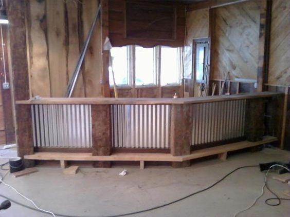 Corrugated metal bar design via dondi new decor ideas pinterest entertaining metals - Rustic basement bar designs ...