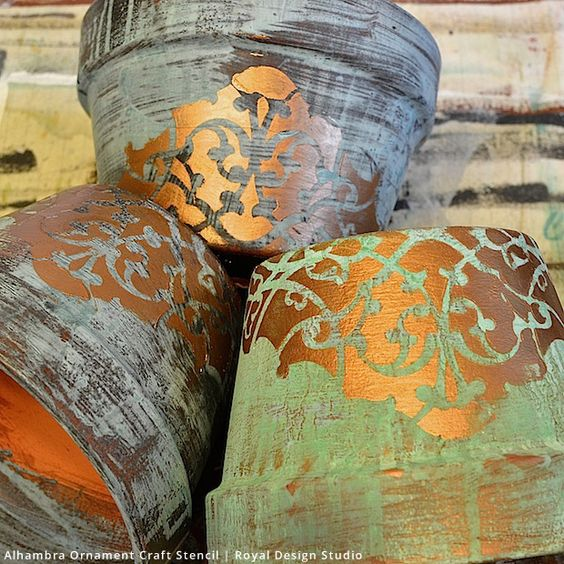 DIY: Gorgeous Patina Flower Pots Craft Project using Royal Design Studio Stencils and Modern Masters Metal Effects Patina: