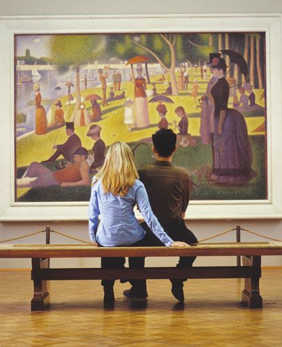 Art Institute of Chicago. This afternoon at the park by Seraut (pointilism) is something to see in person! Amazing.: