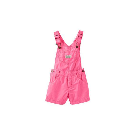 Neon Pink Poplin Shortalls (22 AUD) ❤ liked on Polyvore featuring baby girl