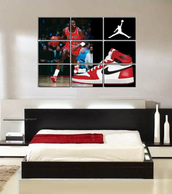 large michael jordan original nike air jordans shoe wall