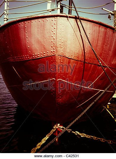 Riveted ship hull, with the rivets clearly visible - Stock Image