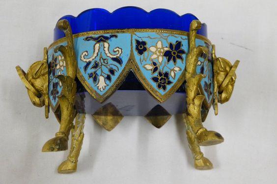 Zierschale Messing emailliert mit blauem Glaseinsatz wohl Frankreich um 1880