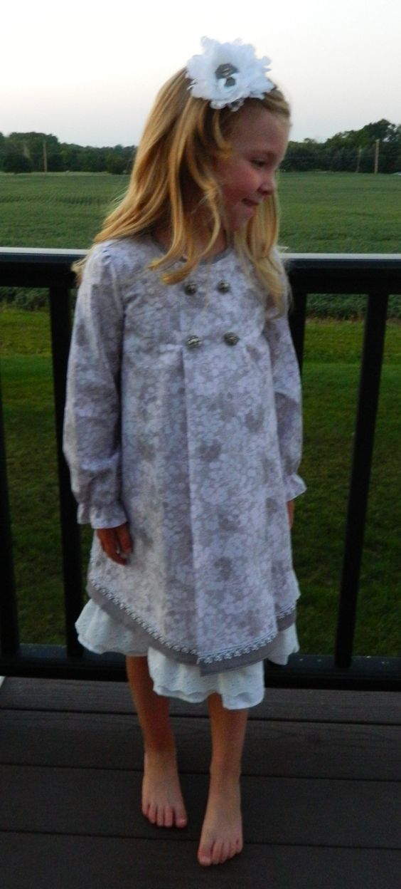 Gray Vintage Inspired Long Sleeved School Dress From Remember When....