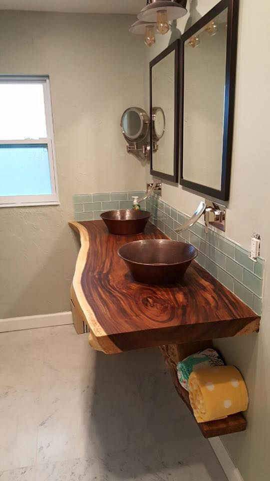 Custom Live Edge Slab Wood Floating Bathroom Vanity Floating