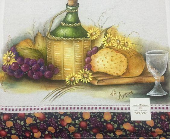 Pano de prato pintado à mão vinho e pão