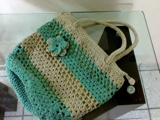 Bolsa De Mão Feita De Croche : Linda bolsa feita de croch? em barbante na cor cinza