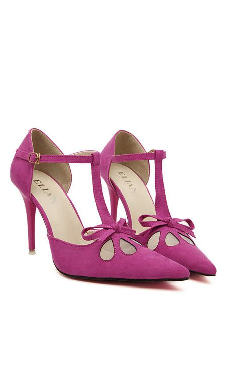 #Berry #Bow #Heels