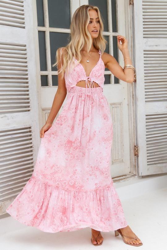 17++ Pink maxi dress information