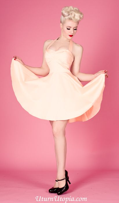 Peach Halter Dress Vintage Style Pin-Up