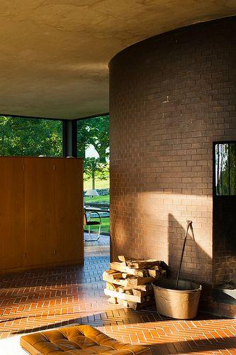 Philip Johnson's Glass House. Brown brick herringbone brick floor.