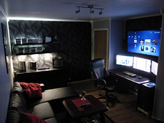 Man Cave Desk : Computers computer rooms and man cave on pinterest