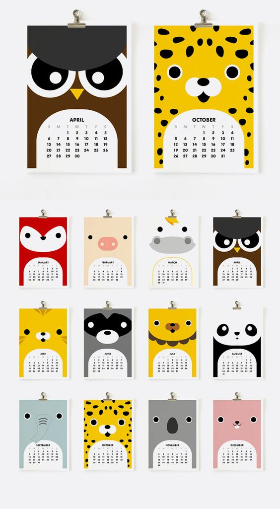 Kids Calendar Design : Calendar cute animals and on pinterest