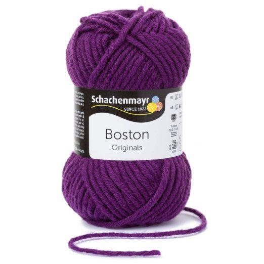 Boston Wolle Schachenmayr Strickgarn - lila Wolle stricken häkeln in Nadelstärke 7-8 mm - Schachenmayr Wolle Boston in violett (Fb 049) - Wolle für Anfänger - Schnellstrickgarn Grobstrickwolle 50 g/Knäuel inkl. GRATIS MyOma Wollrausch Label