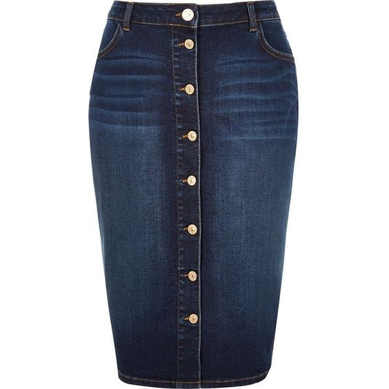 River Island RI Plus blue denim button-up pencil skirt (£17) ❤ liked on Polyvore featuring skirts, sale, knee length pencil skirt, button front denim skirt, high waisted denim skirt, pencil skirt and denim skirt