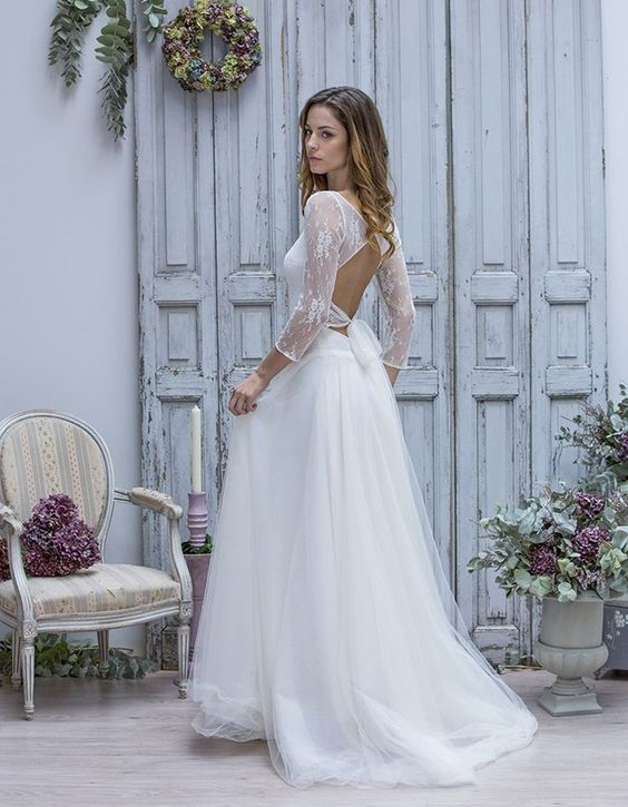 mariée dos nu mariage de dos nu robes de mariage avec manches robes ...
