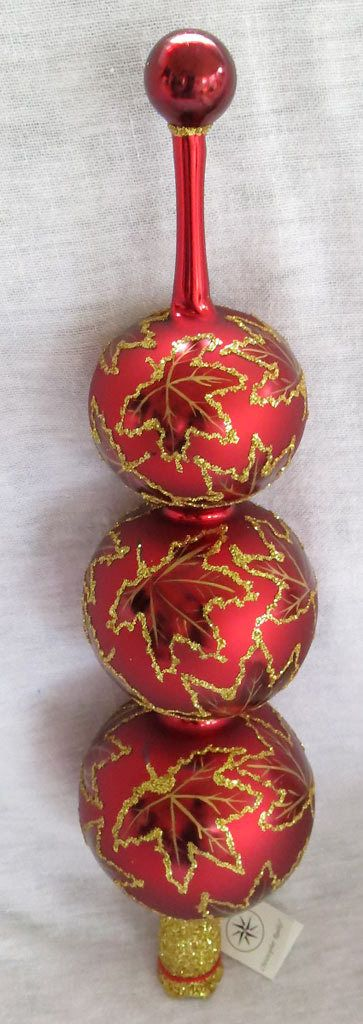 Christopher Radko Maple Leaf Christmas Tree Topper Finial Red and - christmas decors