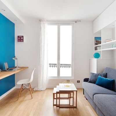 un petit studio plein d astuces design small studio and. Black Bedroom Furniture Sets. Home Design Ideas