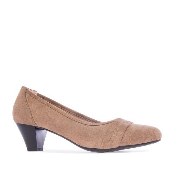 Zapatos de Ante Tostado con punta redondeada y Ancho especial. Tacon medio Ancho de 6 cm para las Tallas Grandes de la 42 a la 45.
