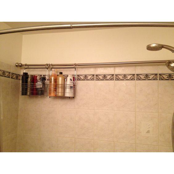 Curtain rods shower storage and storage on pinterest for Bathroom organizer ideas