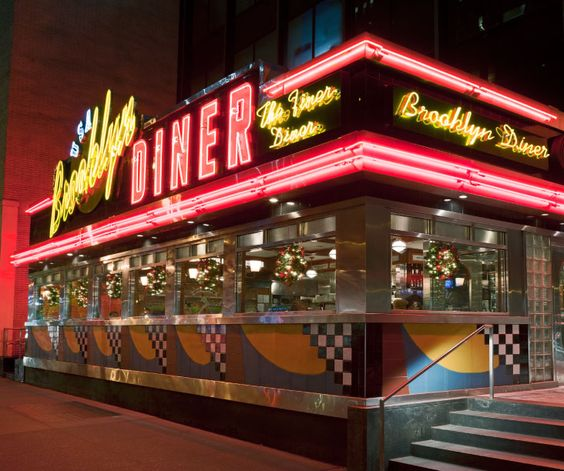 Brooklyn Diner, 155 W. 43rd St  Just a diner, but with a full bar. Everything from hamburgers to malts. Best to stick with the simple diner-style foods (not the stroganoff, sole, etc.).
