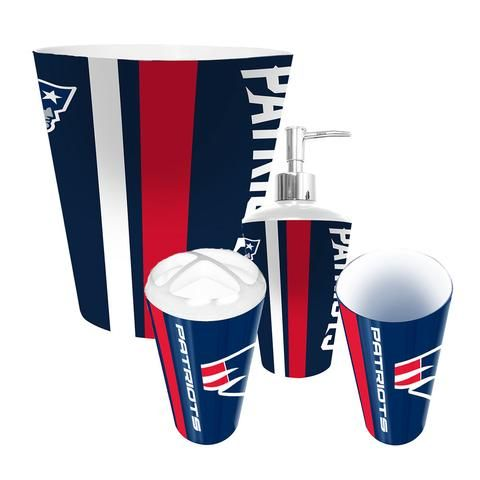 New England Patriots Complete Bathroom Accessories 4pc Set #NewEnglandPatriots