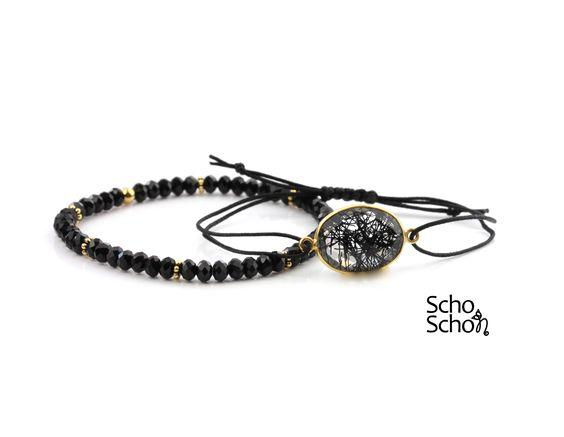 Armband Set Schwarz-Gold.Ein einzigartiges handgemachtes Schmuckstück für dich. Designed by Schoschon.