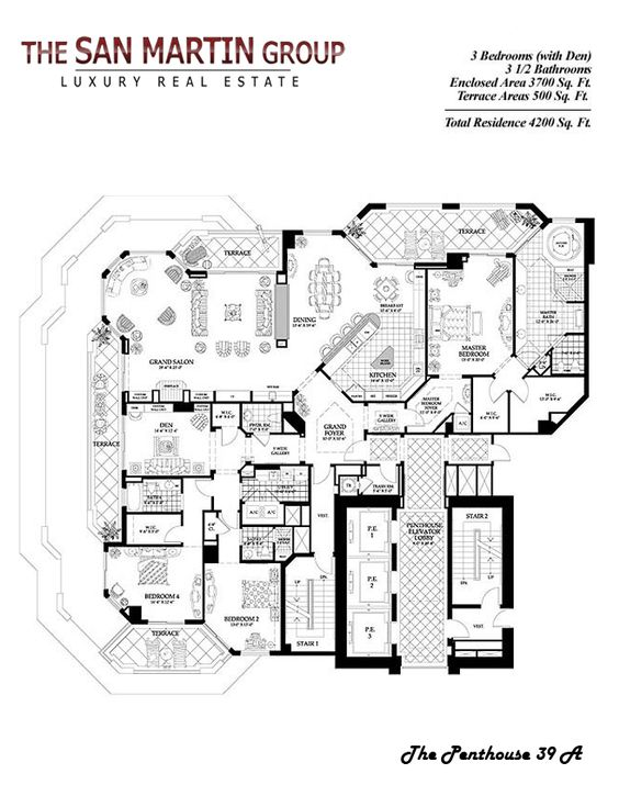 Luxury Penthouse Floor Plans And Condo Floor Plans On