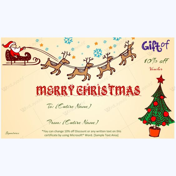 Flying Santa Claus Christmas Gift Certificate Template - printable christmas gift certificates templates free