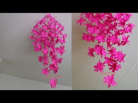 Diy Simple Home Decor Hanging Flowers 6 Handmade Decoration Youtube Paper Flowers Flower Wall Decor Paper Flower Wall