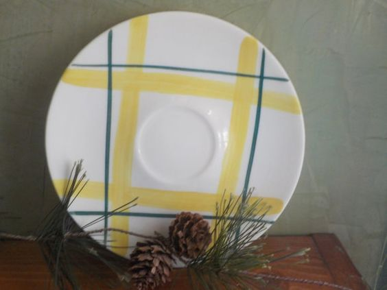 The Edwin Knowles Plaid Saucer, Green With Yellow, Pattern Carmel Plaid, 6 inches diameter