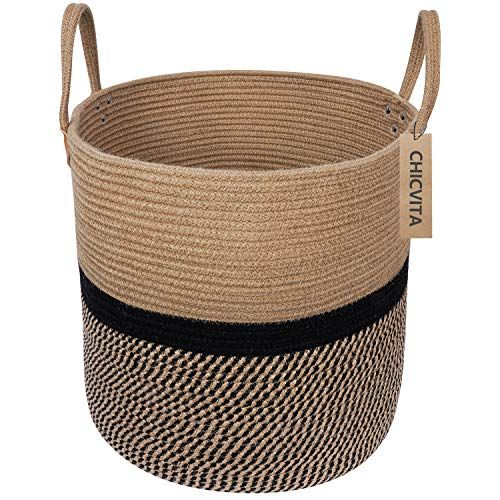 Chicvita Extra Large Jute Basket Woven Storage Basket Wit Https Www Amazon Com Dp B07qrgmx2l Ref Cm Sw R Woven Baskets Storage Jute Basket Blanket Basket