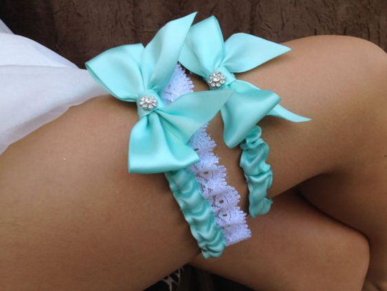 Tiffany Blue/ Wedding Bridal Garter Set ... with Rhinestone details... on Etsy, $34.95