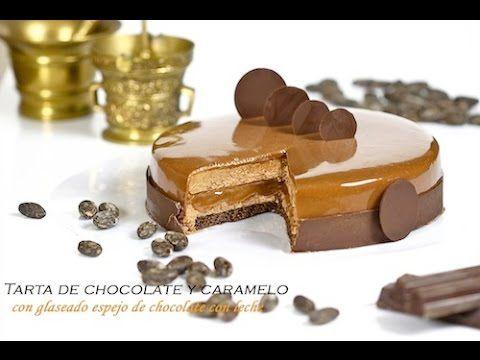 Tarta de chocolate, crema de caramelo, y glaseado espejo - YouTube