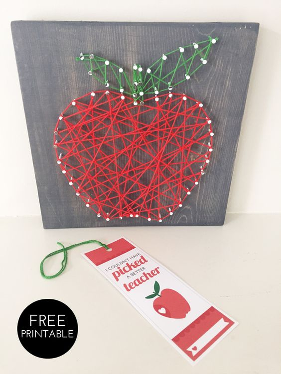 Apple string art with a free thank you teacher printable