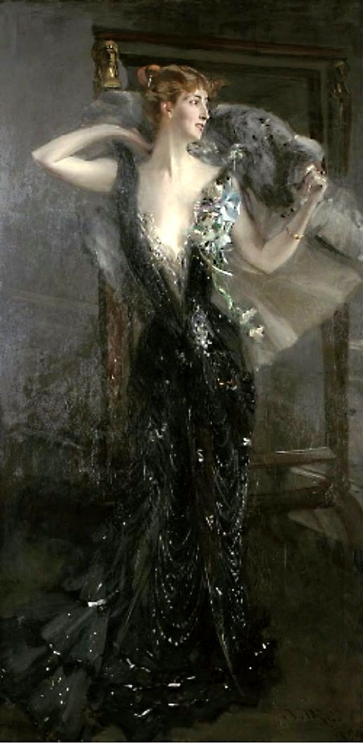 La Contessa Speranza (1899). Giovanni Boldini (Italian, 1842-1931). Oil on canvas. Seductive portrait of a elegant beauty. Her bold open stance as she throws her fur coat over her slender shoulders suggests her confident sexuality, which contrasts to...