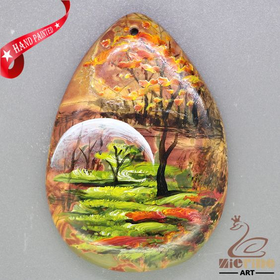 handmade art Hand Painted Made Necklace Natural Gemstone pendant ZL806218 #ZL #Pendant