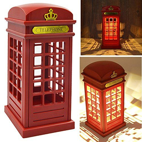 Vintage London Telephone Booth Designed Usb Charging Led Night Lamp Touch Sensor Table Desk Light For Bedroom Students Dormitory Illumination Home Bar Decoratio Telefonzelle Englische Telefonzelle Telefon