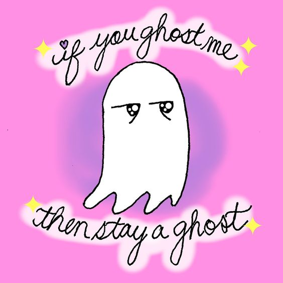 •kawaii doodle digital art cute ghost ghosting tinder comic funny dating meme humor•